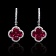 .34ct Diamond and Ruby 18k White Gold Dangle Earrings