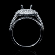 1.11ct Diamond 18k White Gold Double Halo Split Shank Engagement Ring Setting