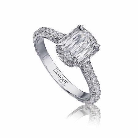 L'Amour Crisscut Collection Uma Diamond 18k White Gold Engagement Ring Setting