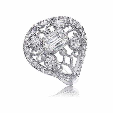 L'Amour Crisscut Collection Annabella Antique Style Diamond 18k White Gold Ring