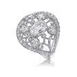 Christopher Designs L'Amour Crisscut Collection Annabella Antique Style Diamond 18k White Gold Ring