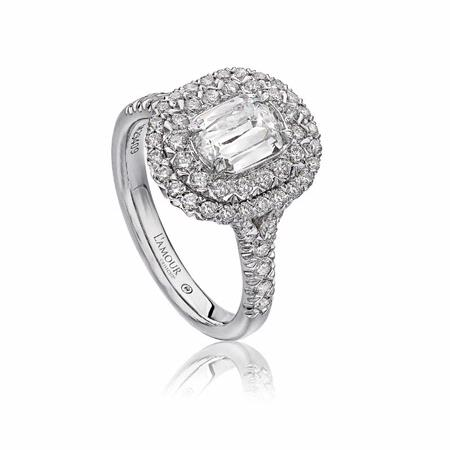 L'Amour Crisscut Collection Mia Diamond Platinum  Double Halo Engagement Ring Setting