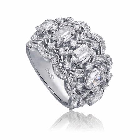 L'Amour Crisscut Collection Annabella Diamond 18k White Gold Ring
