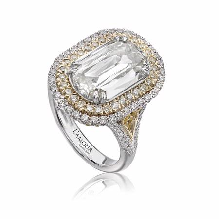 L'Amour Crisscut Collection Mia Diamond 18k Two Tone Gold Engagement Ring Setting