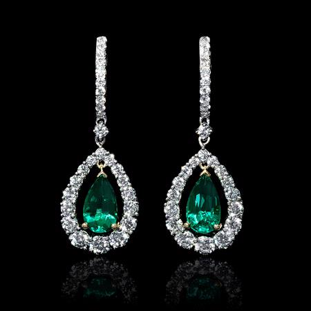 2.80ct Diamond and Pear Shaped Emerald 18k Two Tone Gold Dangle Earrings