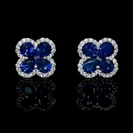 Diamond And Blue Sapphire 18k White Gold Cluster Flower Earrings