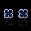 .39ct Diamond and Blue Sapphire 18k White Gold Cluster Flower Earrings