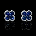 Diamond and Blue Sapphire 18k White Gold Cluster Flower Earrings