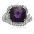 .90ct Diamond and Amethyst 14k White gold Ring