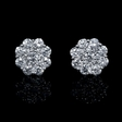 1.22ct Diamond 18k White Gold Cluster Earrings