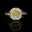 Diamond Platinum and 18k Yellow Gold Halo Engagement Ring