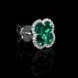 .26ct Diamond and Emerald 18k White Gold Cluster Flower Earrings