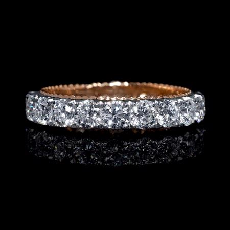 Diamond Antique Style 18k White and Rose Gold Wedding Band Ring