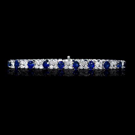 3.98ct Diamond and Oval Cut Blue Sapphire 18k White Gold Bracelet