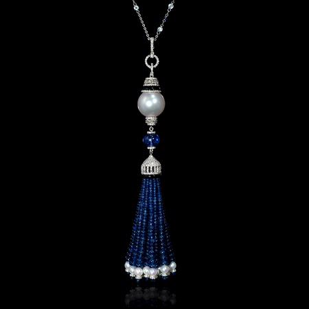 Diamond Blue Sapphire Tanzanite South Sea and Cultured Pearl White Topaz and Black Onyx 18k White Gold Tassel Pendant Necklace