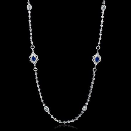 Diamond and Blue Sapphire 18k White Gold Opera Necklace