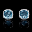 .06ct Diamond and Blue Topaz 14k White Gold Earrings.