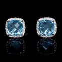 Diamond and Blue Topaz 14k White Gold Cluster Earrings
