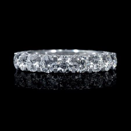 Diamond 18k White Gold Antique Style Eternity Wedding Band Ring