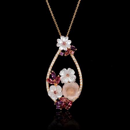 Diamond, Pink and Purple Amethyst, and Mother of Pearl  18k Rose Gold Flower Pendant