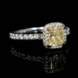 1.44ct GIA Certified Fancy Yellow Diamond 18k White and Yellow Gold Engagement Ring