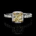 GIA Certified Diamond 18k White and  Yellow Gold Engagement Ring