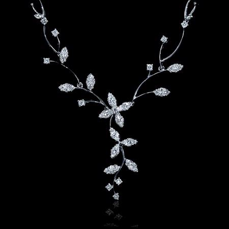 1.20ct Diamond 18k White Gold Flower Necklace