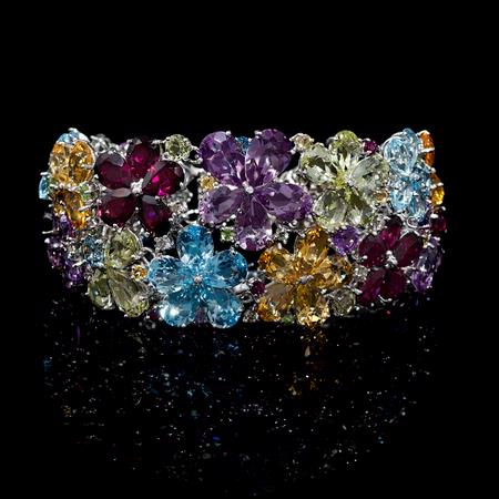 Diamond, Blue Topaz, Citrine, Amethyst, Peridot and Rhodoloite 18K White Gold Flower Bracelet
