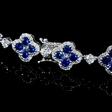 3.48ct Diamond and Blue Sapphire Antique Style 18k White Gold Bracelet