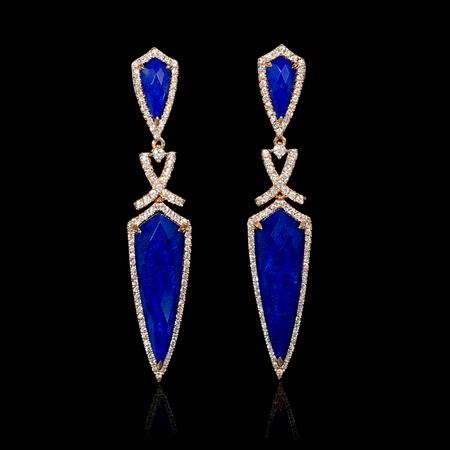 Diamond and Lapis Lazuli 18k Rose Gold Dangle Earrings