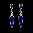 .79ct Diamond and Lapis Lazuli 18k Rose Gold Dangle Earrings