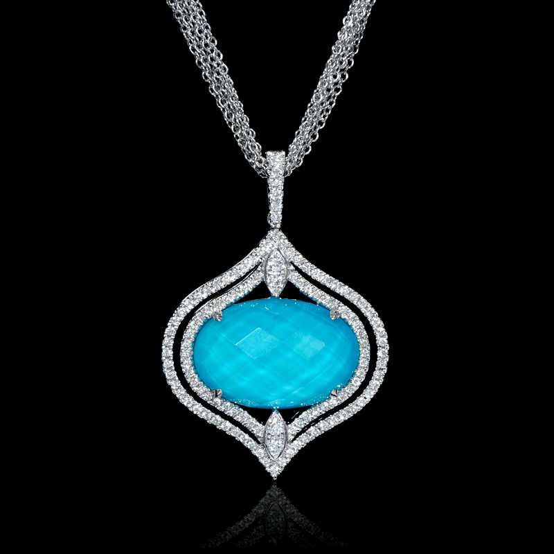 61ct diamond and white topaz over turquoise 18k white gold pendant 61ct diamond and white topaz over turquoise 18k white gold pendant audiocablefo