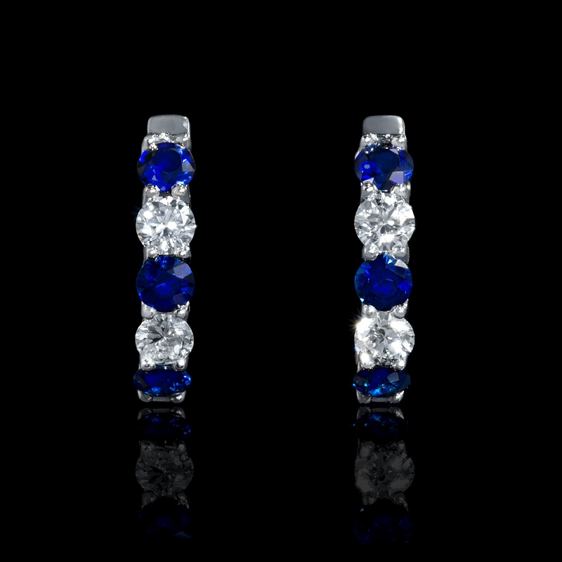 54ct Diamond And Blue Sapphire 18k White Gold Huggie Earrings