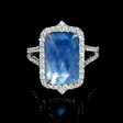 .65ct Diamond, White Topaz and Mother of Pearl Lapis Lazuli 18k White Gold Ring.