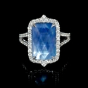 Diamond, White Topaz Mother of Pearl and Lapis Lazuli 18k White Gold Ring