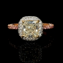GIA Certified Platinum and 18k Two Tone Gold Halo Engagement Ring