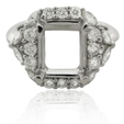 .96ct Diamond Platinum Halo Engagement Ring Mounting