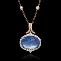Diamond, Amethyst, Mother of Pearl and Lapis Lazuli 18k Rose Gold Pendant