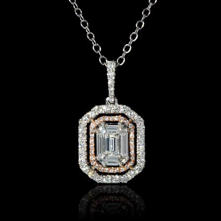 .95ct Diamond 18k White and Rose Gold Mosaic Pendant Necklace