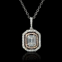 Diamond 18k White and Rose Gold Mosaic Pendant