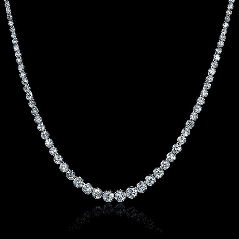12 94ct Diamond 18k White Gold Graudated Tennis Necklace