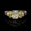 GIA Certified Diamond Platinum and 18k Two Tone Gold  Engagement Ring