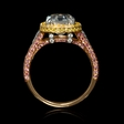 3.91ct GIA Certified Oval Cut Diamond Platinum and 18k Two Tone Gold Engagement Ring