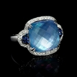 .24ct Diamond, White Topaz and Mother of Pearl Lapis Lazuli 18k White Gold Ring.
