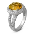 1.13ct Diamond & Citrine 18k White Gold Ring