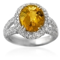 Diamond & Citrine 18k White Gold Ring