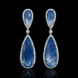 1.13ct Diamond, White Topaz, Mother of Pearl over Lapis Lazuli 18k White Gold and Black Rhodium Dangle Earrings
