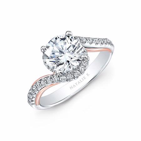 Natalie K Diamond 18k White and Rose Gold Twisted Shank Engagement Ring Setting