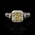 GIA Certified Diamond 18k Two Tone Gold Halo Engagement Ring
