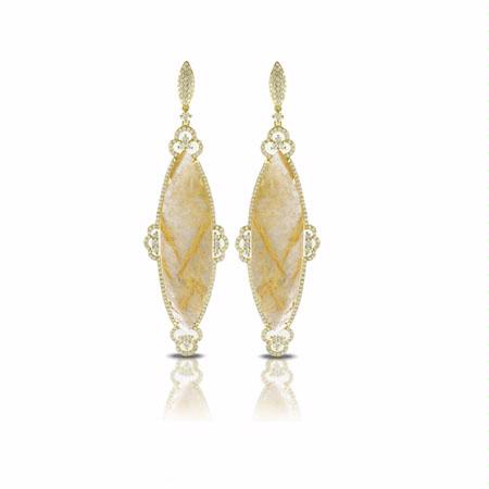 Doves Diamond 18k Yellow Gold Ritualated Quartz Dangle Earrings